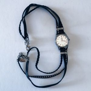 Woman's Black and Silver Studded Wrap Watch
